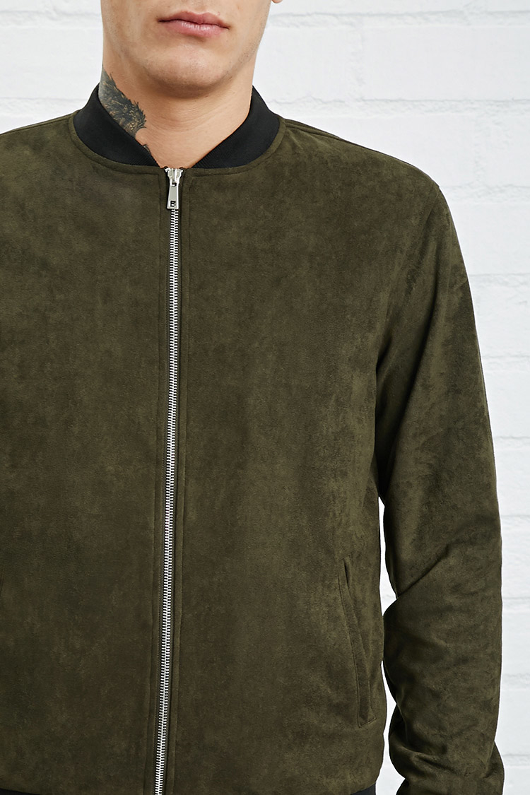 Lyst Forever 21 Faux Suede Bomber Jacket In Green For Men