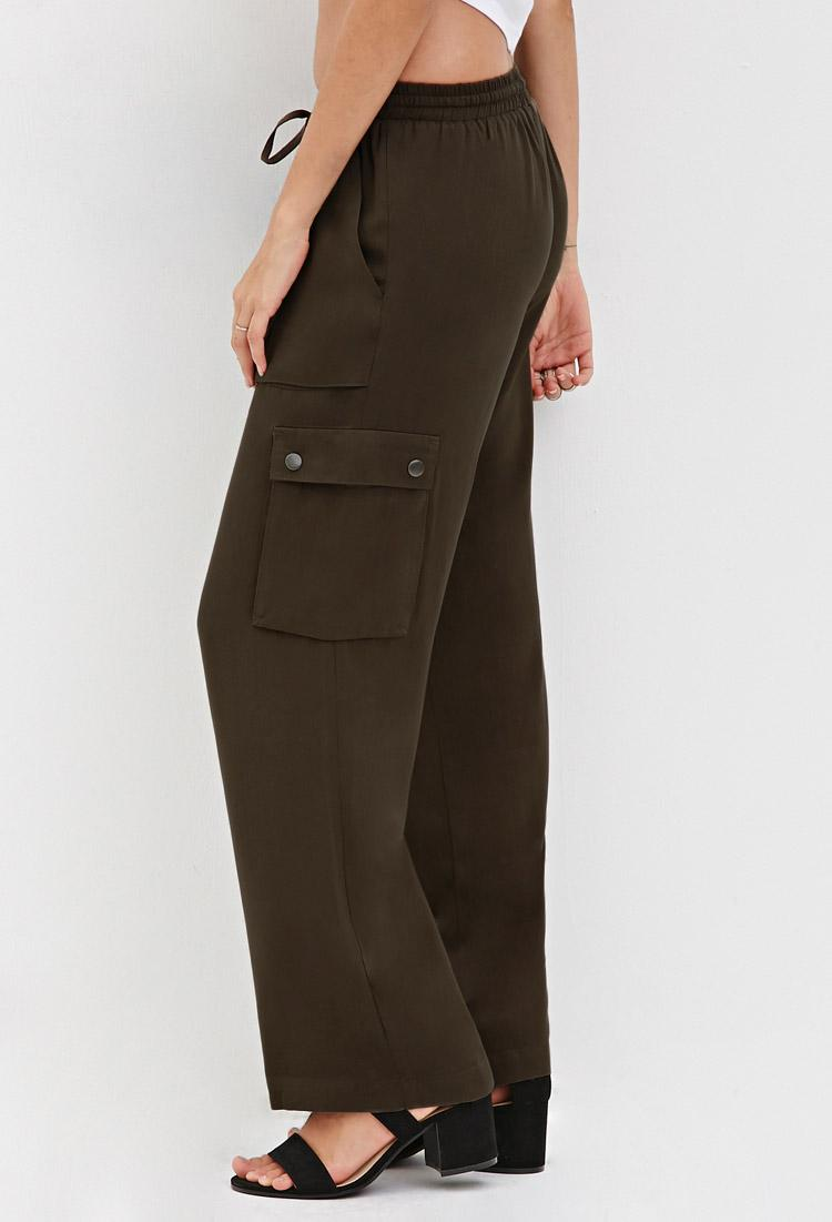 Lyst Forever 21 Wide Leg Cargo Pants In Green
