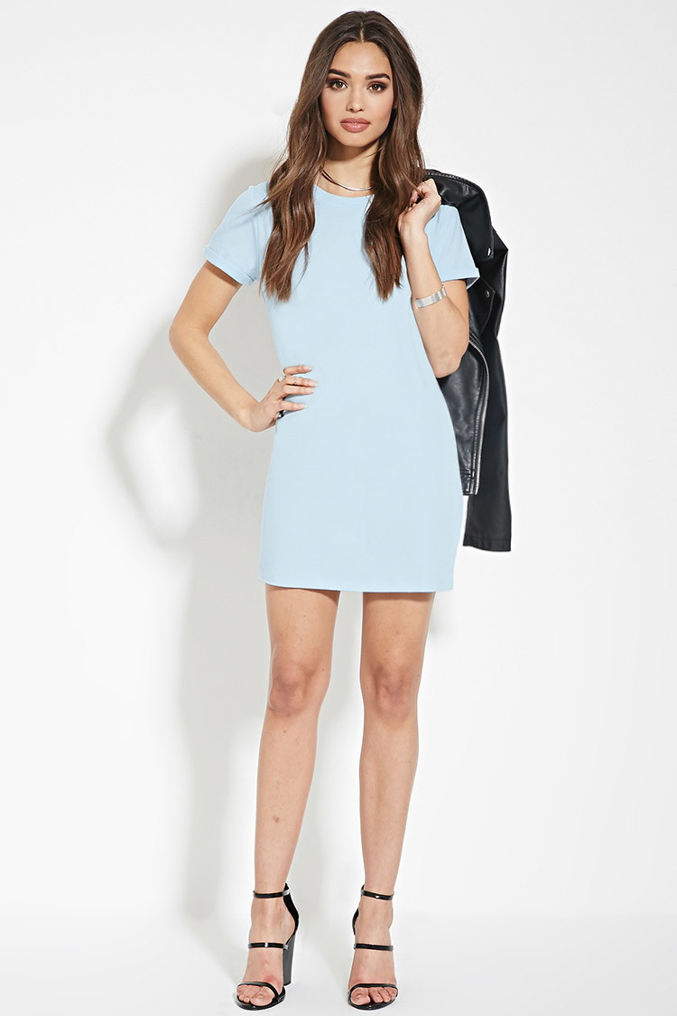 Lyst Forever 21 Cotton T Shirt Dress In Blue