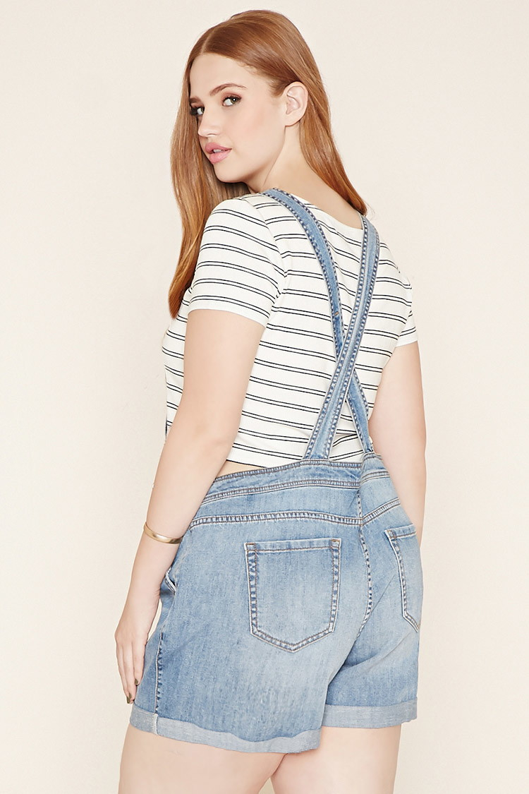 Lyst Forever 21 Plus Size Denim Overall Shorts In Blue