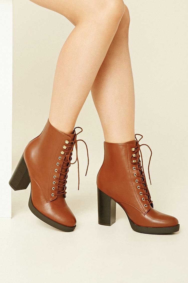 Shoes Lace Up Zip Up Faux