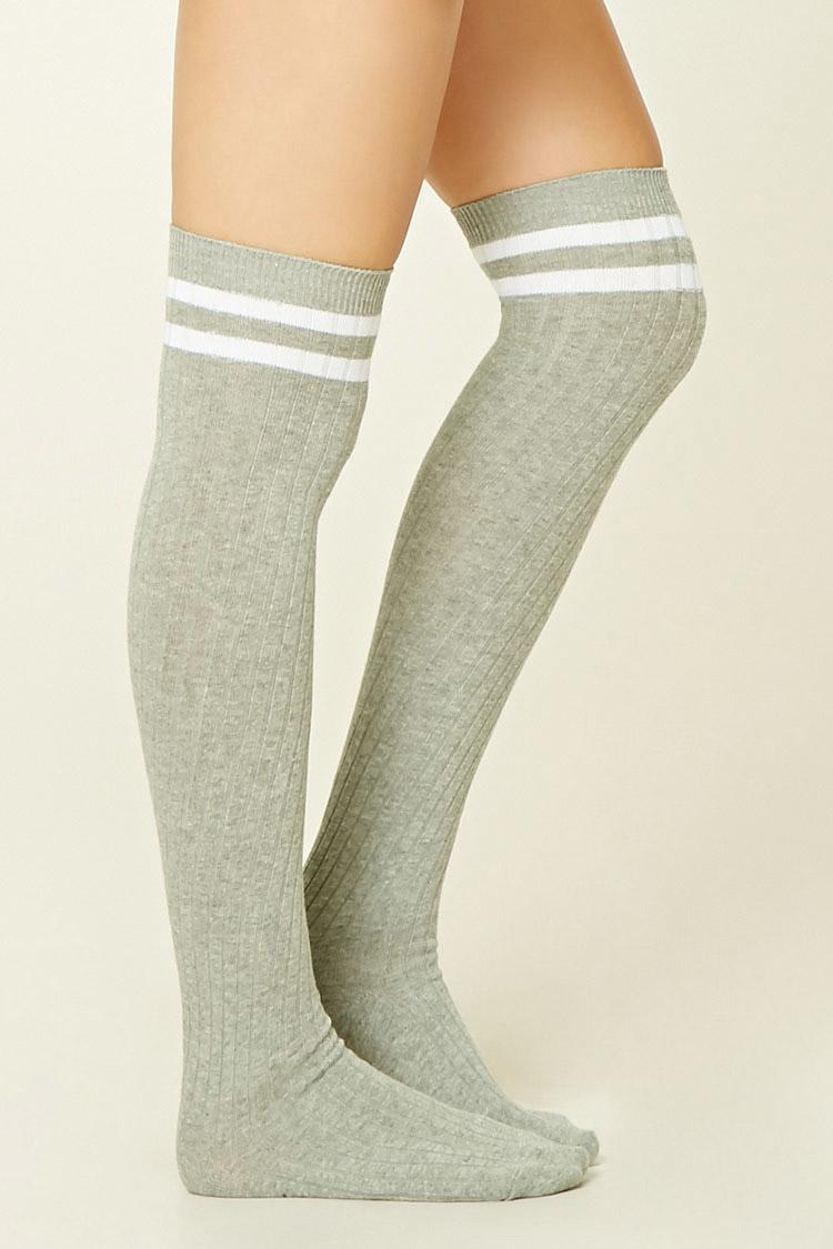 Forever 21 Over The Knee Varsity Socks Lyst