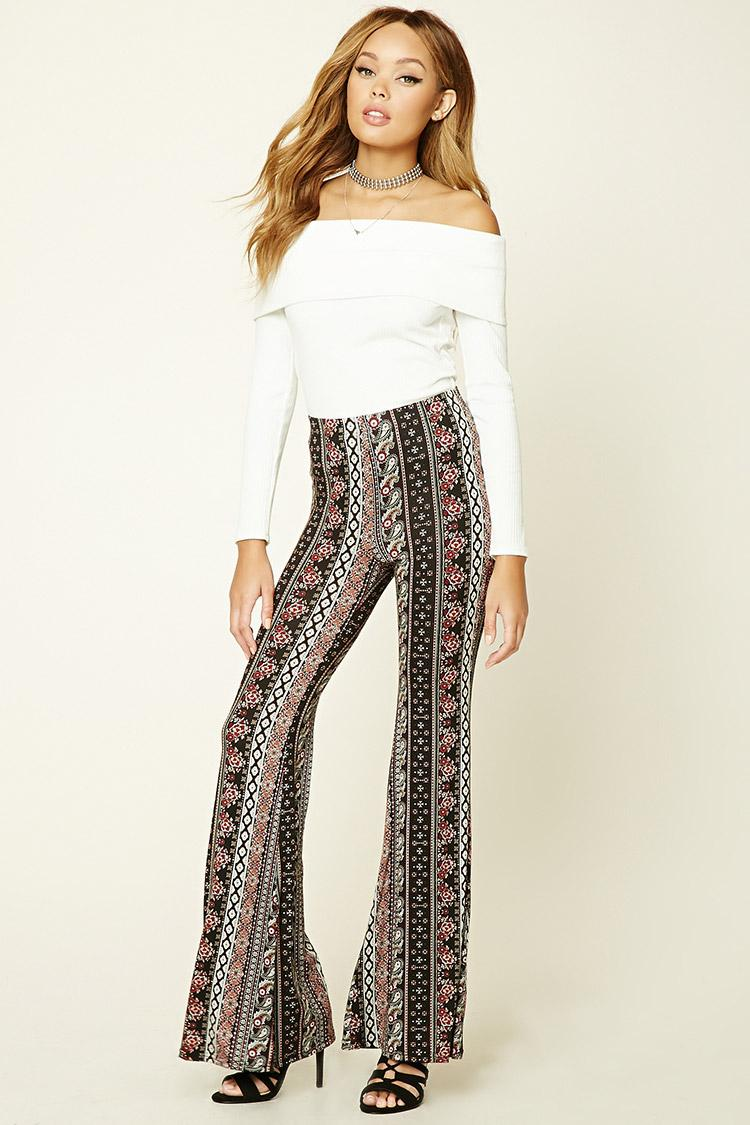 Forever 21 Ornate Print Flared Pants In Black Lyst