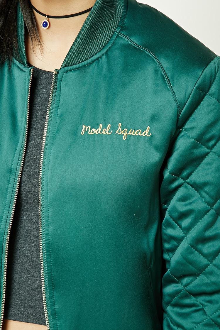 Forever 21 Model Squad Bomber Jacket In Green Lyst