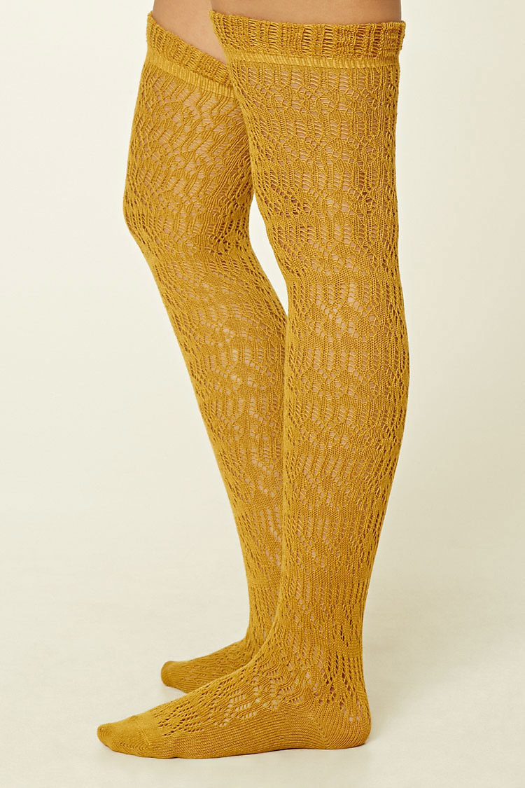 Lyst Forever 21 Over The Knee Ruffled Socks In Yellow
