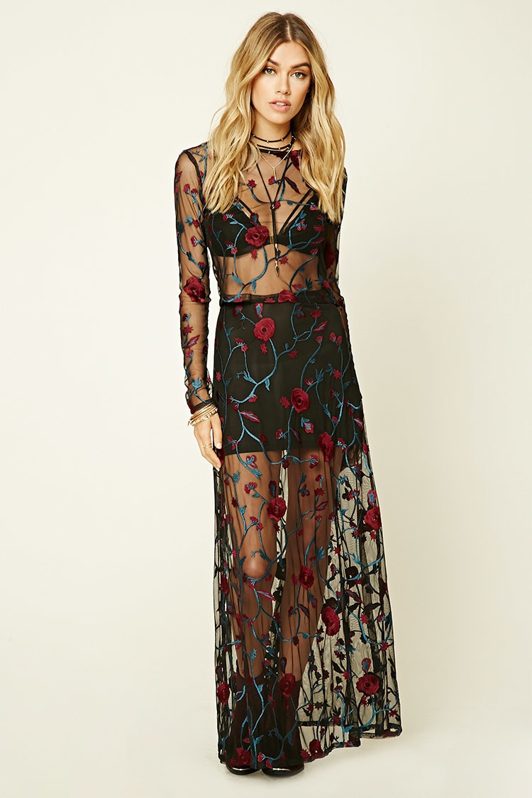 aebb7e9e0 Forever 21 Floral Embroidered Maxi Skirt in Black - Lyst