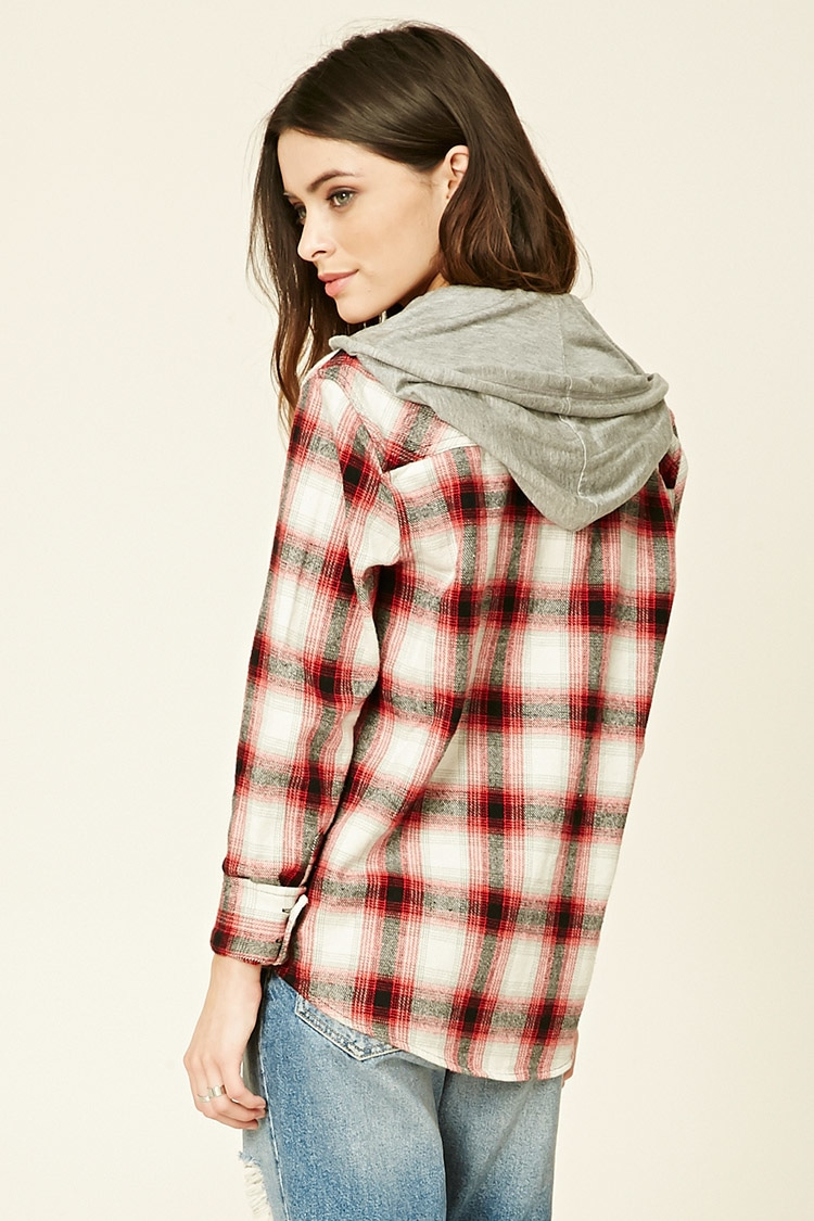 Forever 21 hooded flannel shirt lyst for Flannel shirts for womens forever 21
