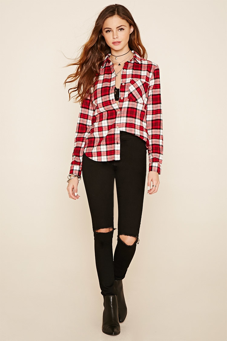Forever 21 tartan check flannel shirt in red lyst for Flannel shirts for womens forever 21