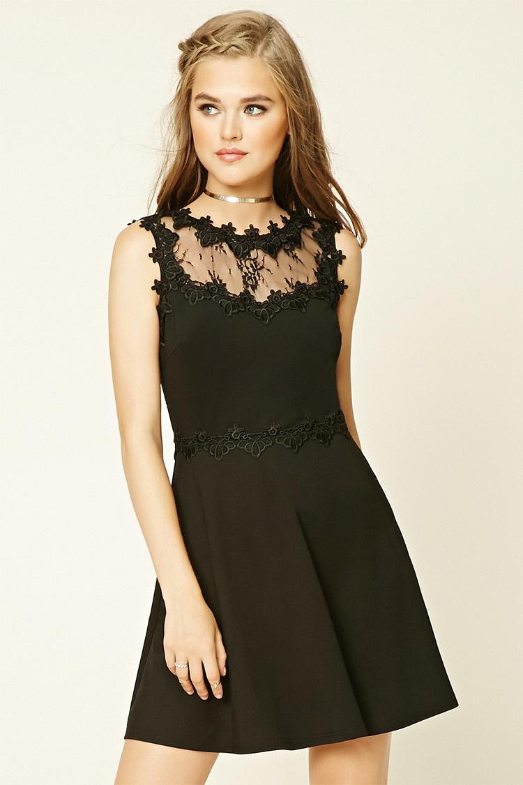 Forever 21 Floral Lace Skater Dress in Black | Lyst