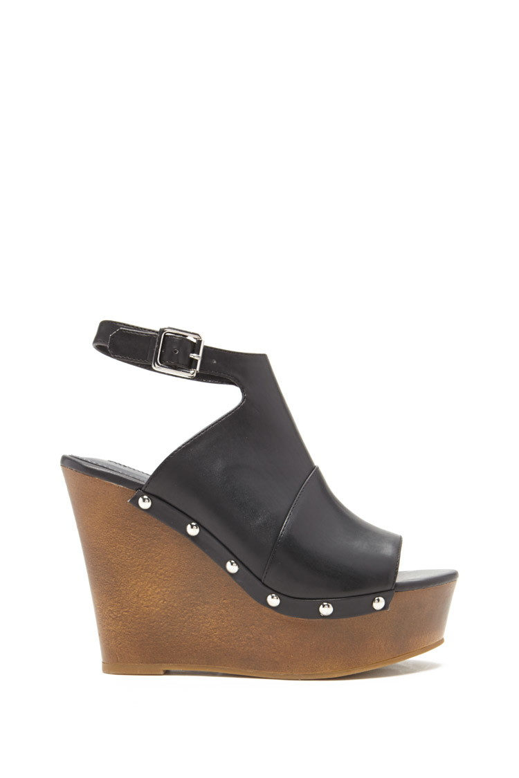 Forever 21 Peep-toe Wedge Heels in Black | Lyst