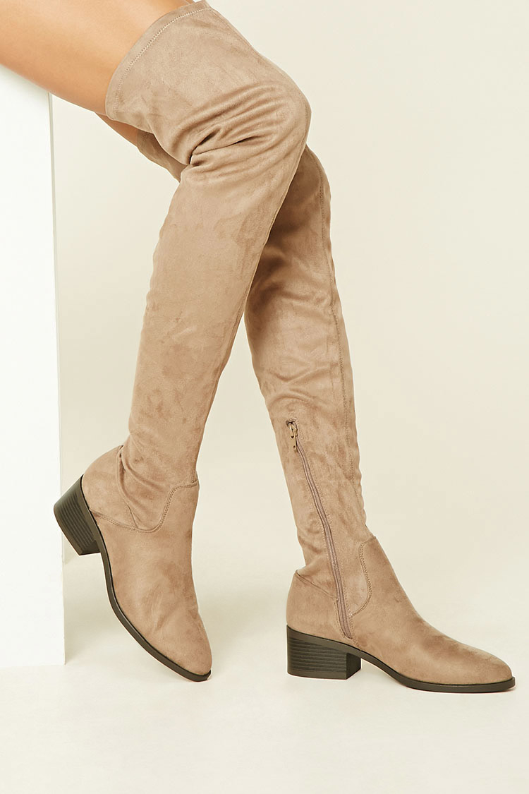 forever 21 thigh high faux suede boots in lyst