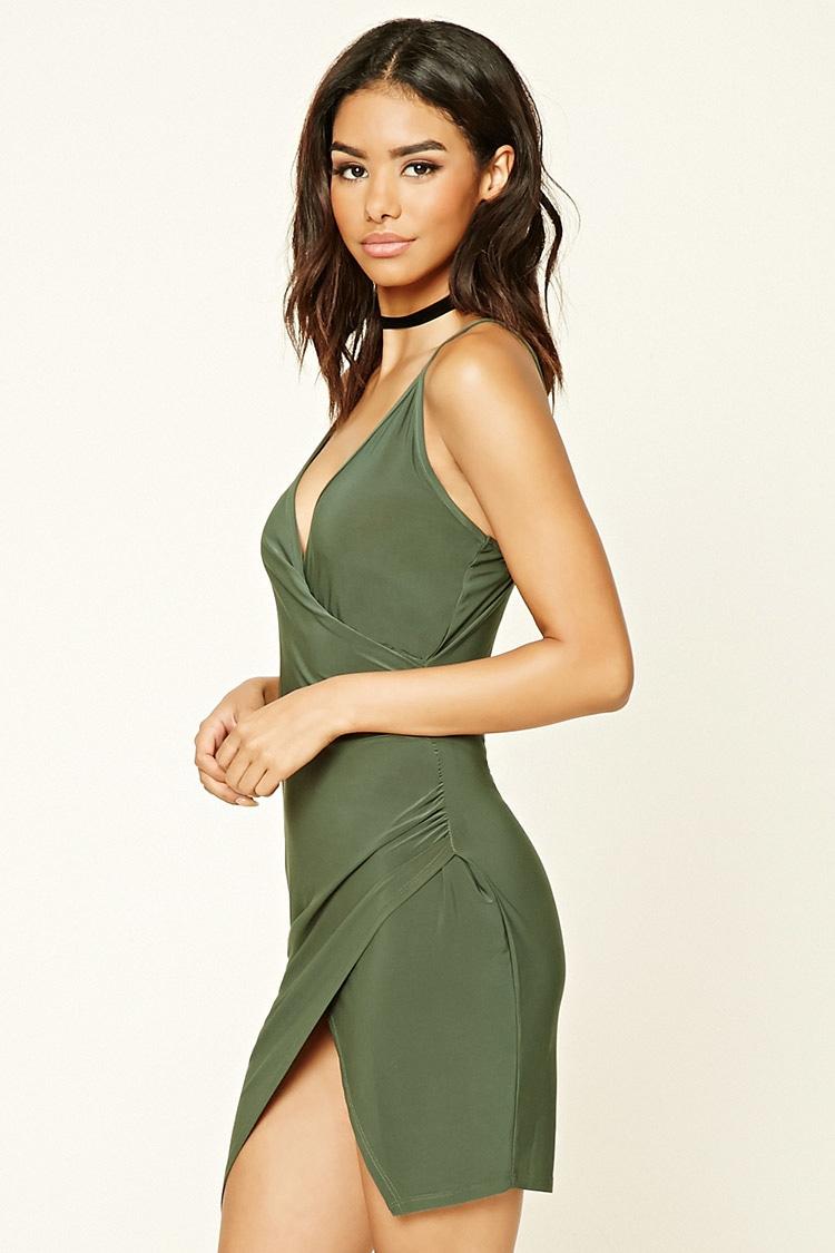 Lyst - Forever 21 Asymmetrical Bodycon Dress in Green- photo #50