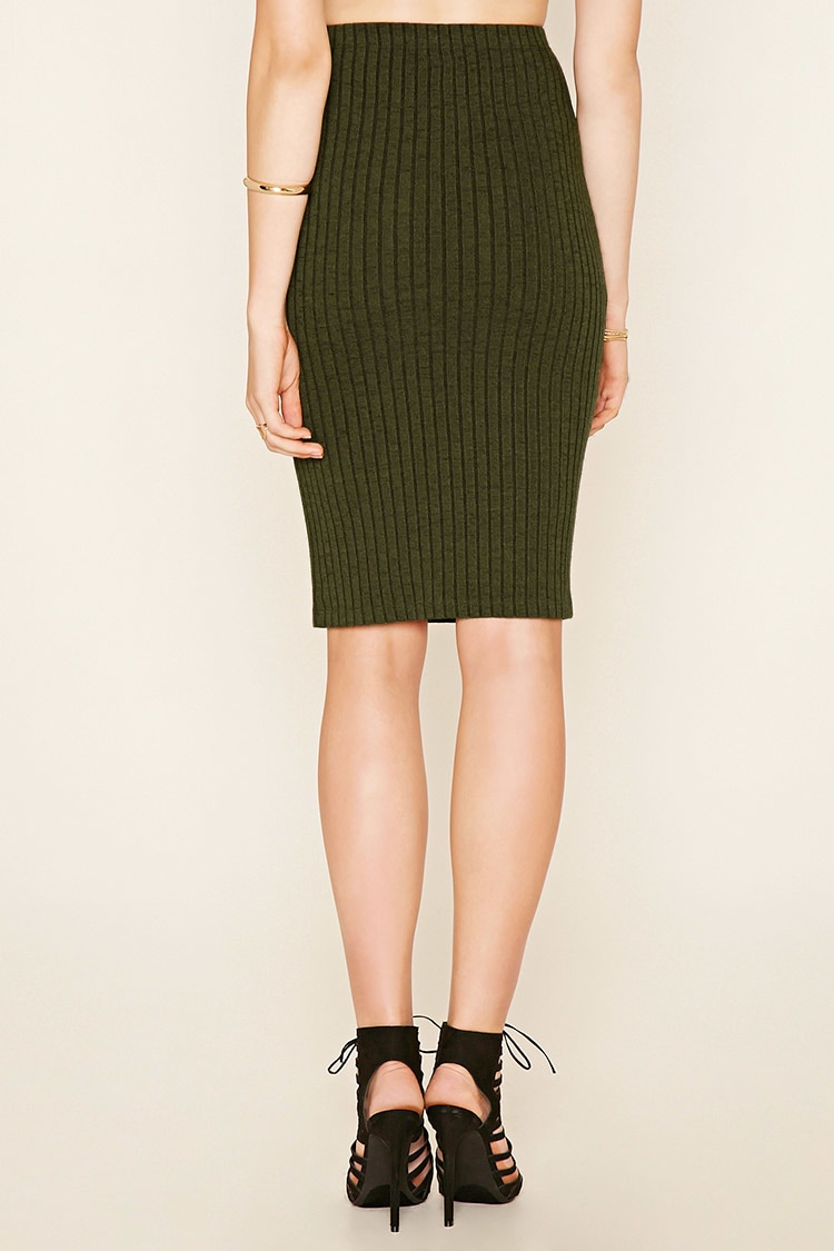 forever 21 ribbed knit midi skirt in green lyst