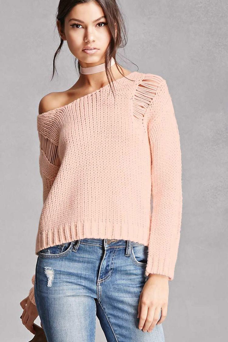 Forever 21 Distressed Purl Knit Sweater In Pink Lyst