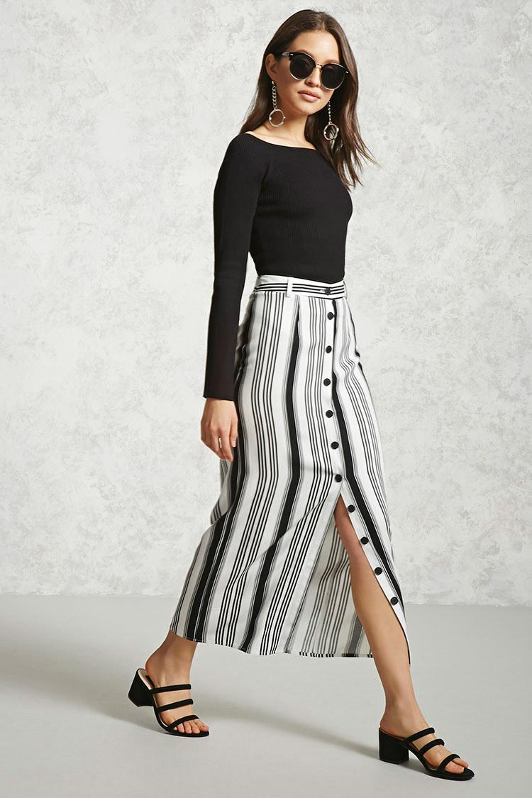 Forever 21 Striped Button-front Maxi Skirt in Black   Lyst