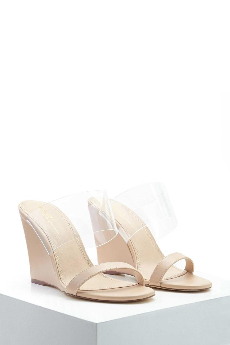 forever 21 clear slipon wedges in natural lyst