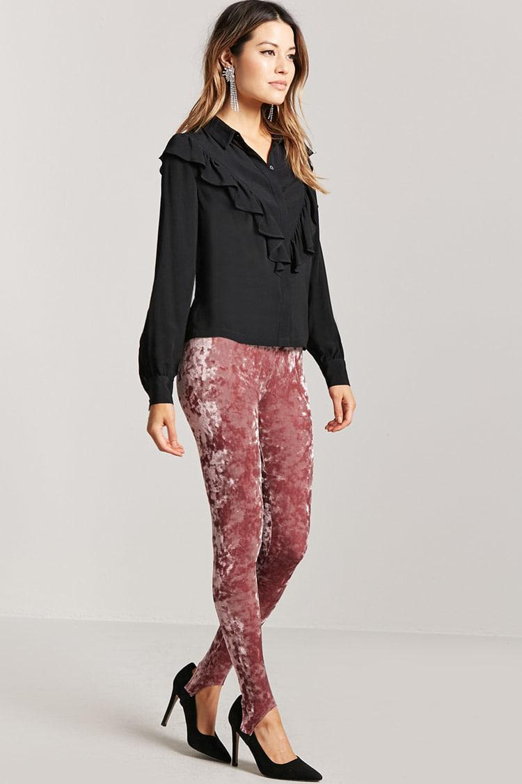 a083a960a4e83e Forever 21 Crushed Velvet Stirrup Leggings in Pink - Lyst