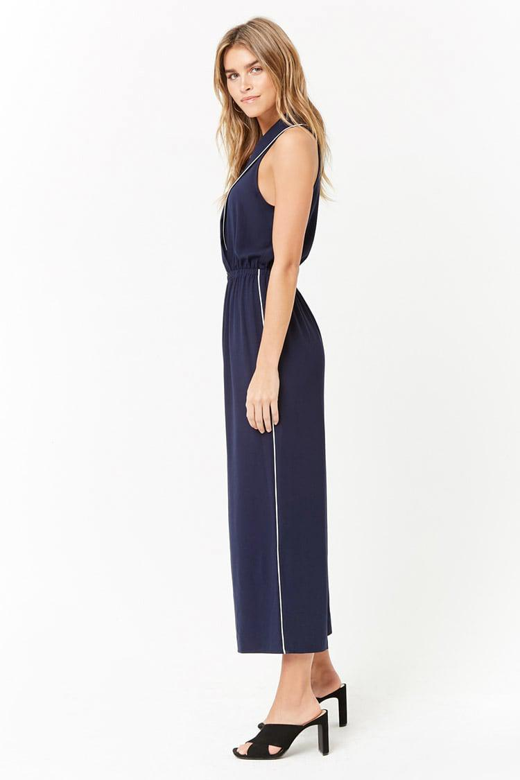 44762220b93d Lyst - Forever 21 Women s Collared Capri Jumpsuit in Blue