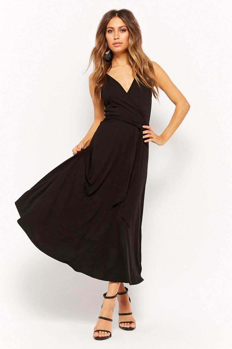 f68220db6f8 Lyst - Forever 21 Belted Surplice Midi Dress in Black