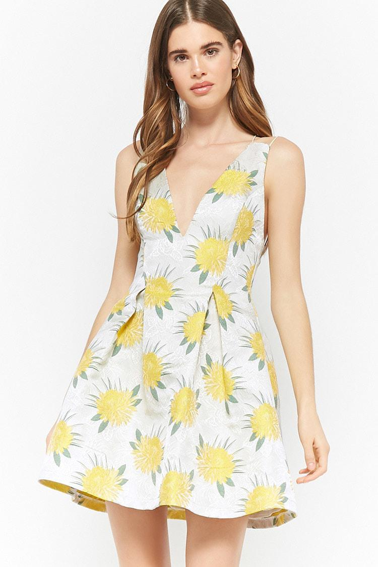 dbdde2dd427d Lyst - Forever 21 Floral Metallic Cami Dress in Yellow