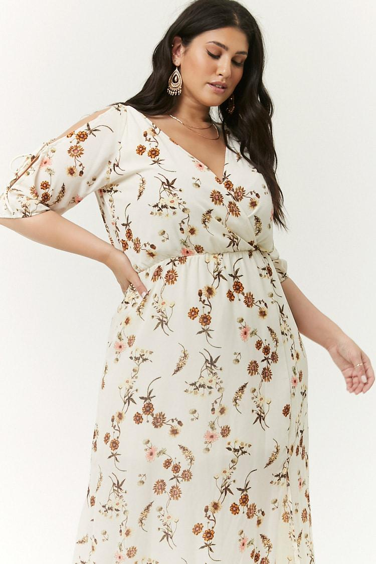 813a06f64f81e Forever 21 Plus Size Floral Open-shoulder Dress in White - Lyst