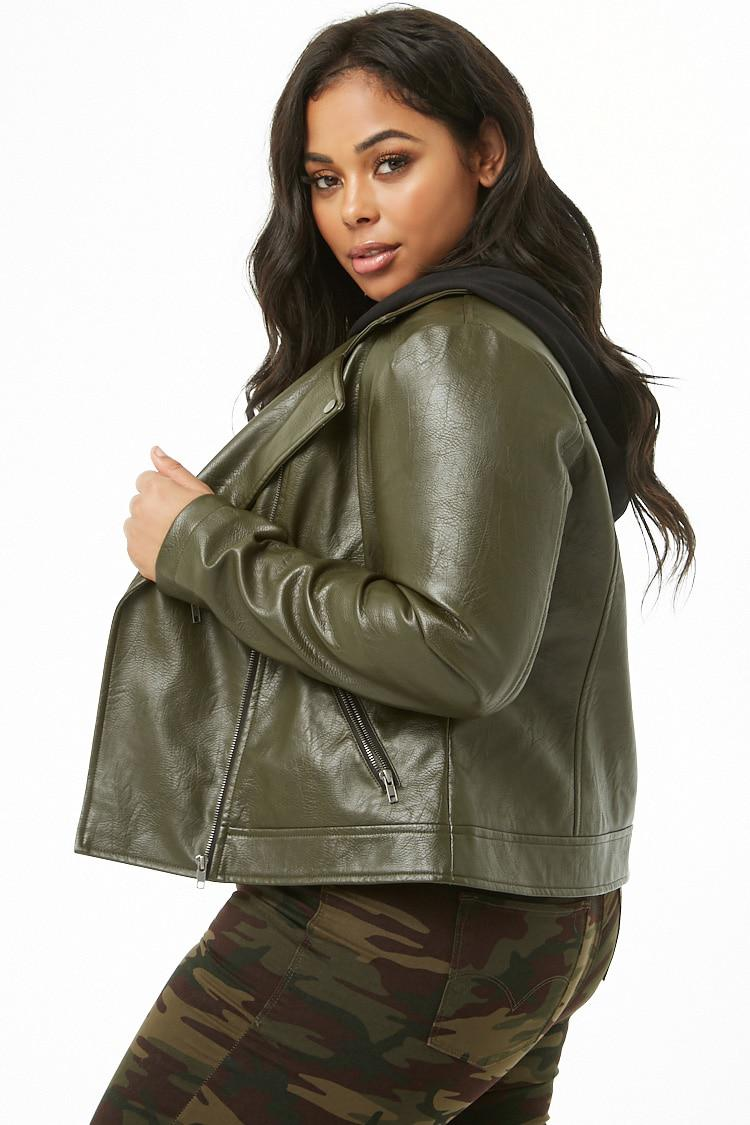 a48929e6d7 Forever 21 Women s Plus Size Faux Leather Combo Moto Jacket in Green ...