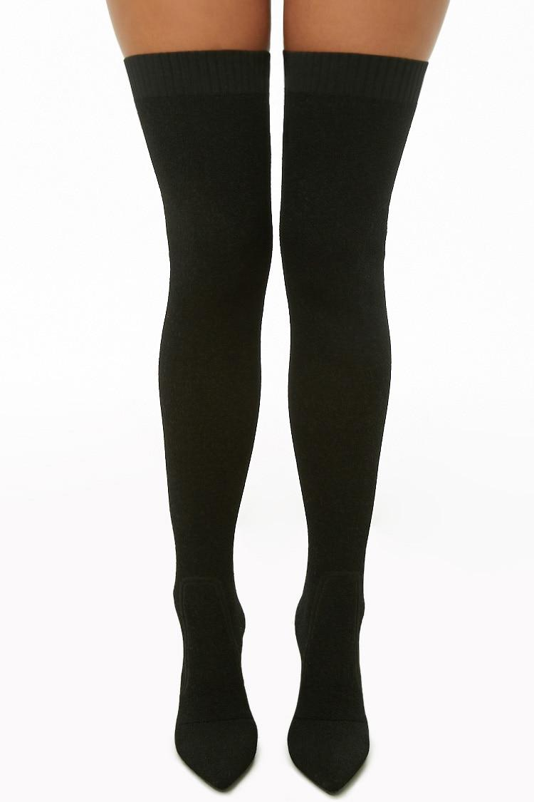 7e81f4c6a53 Forever 21 Lemon Drop By Privileged Thigh-high Sock Boots in Black ...