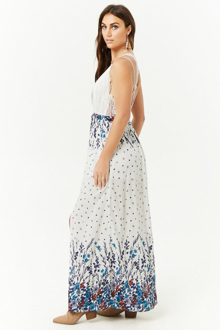 a24e6b9d6bfc Forever 21 - White Strappy Ditsy Floral Print Maxi Dress - Lyst. View  fullscreen