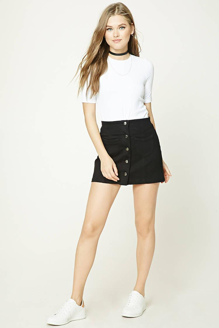 556d71697a Forever 21 Button-front Denim Skirt in Black - Lyst