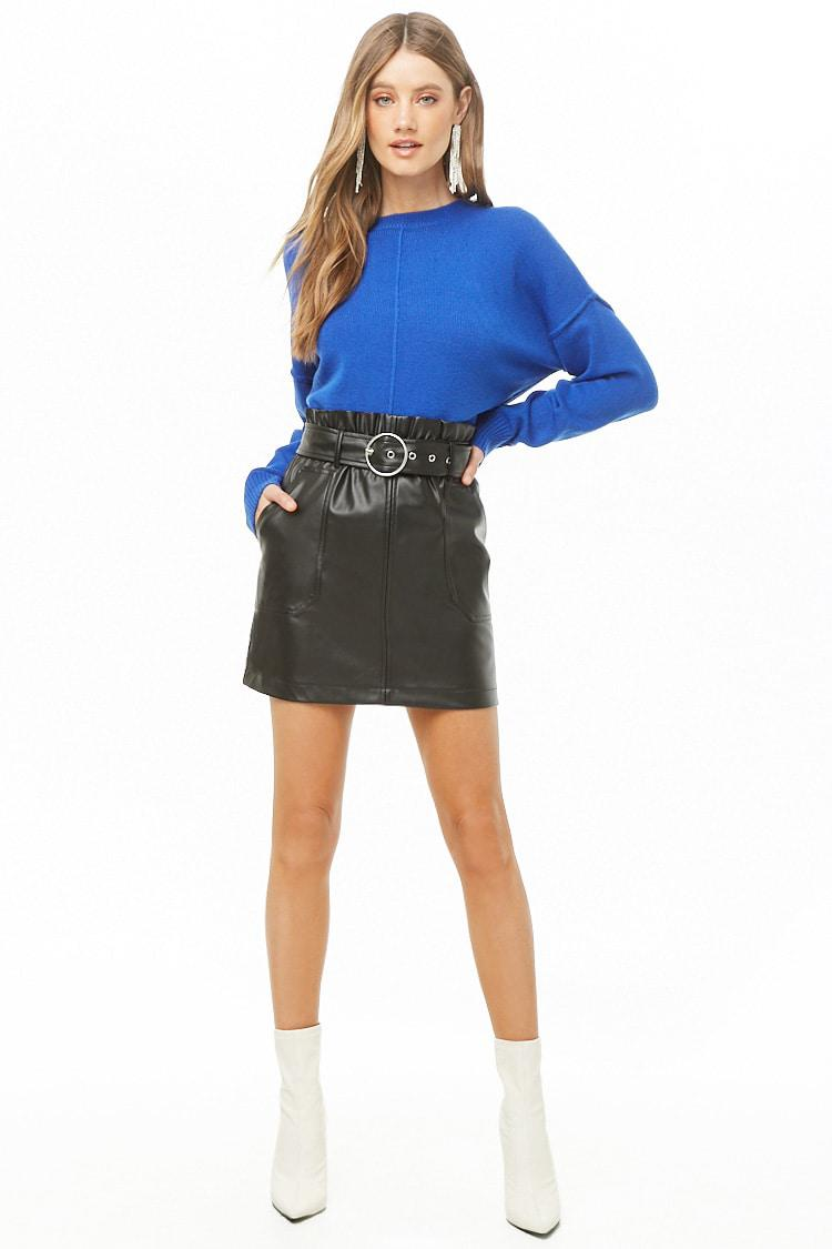 98af5ffbe Lyst - Minifalda de polipiel con cinturón Forever 21 de color Negro