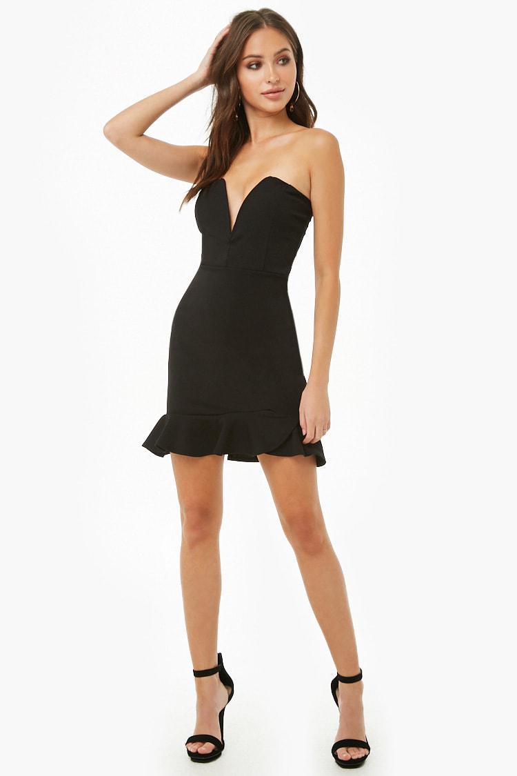 a79125e330b Lyst - Forever 21 Sweetheart Tube Mini Dress in Black