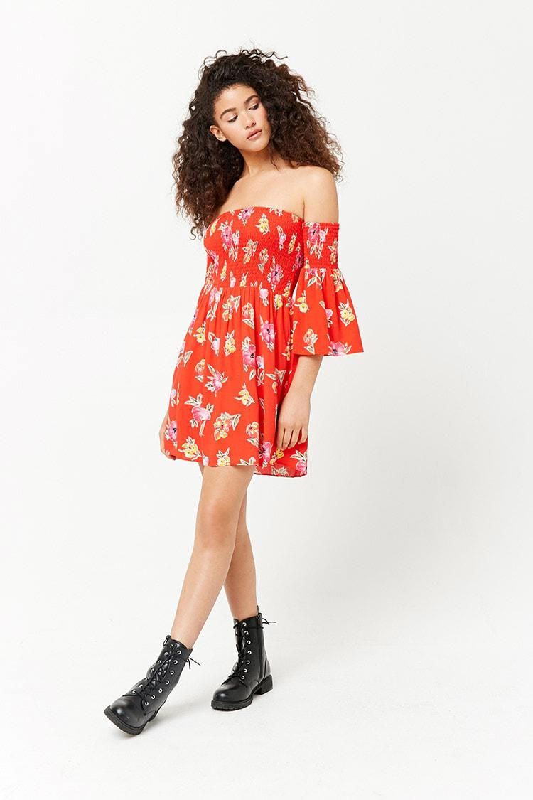 a14041714b25c Forever 21 Women's Smocked Floral Off-the-shoulder Dress in Red - Lyst