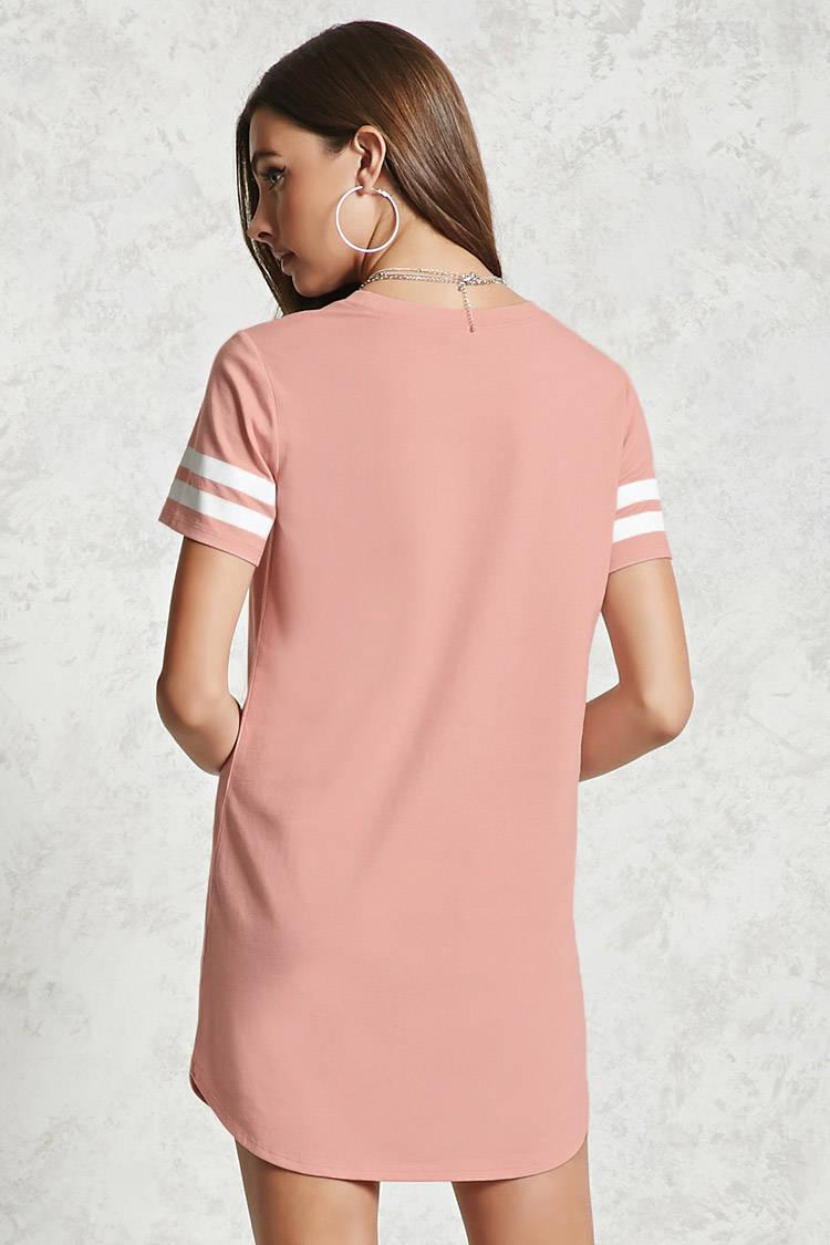 091be5a5da8f1 Forever 21 Varsity Striped T-shirt Dress in Pink - Lyst