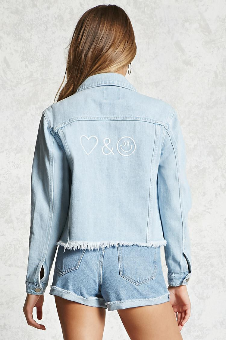 745e44463907 Forever 21 Emoji Distressed Denim Jacket in Blue - Lyst