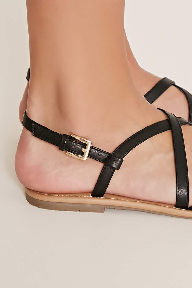 54c6c352792 Lyst - Forever 21 Crisscross Faux Leather Sandals in Black