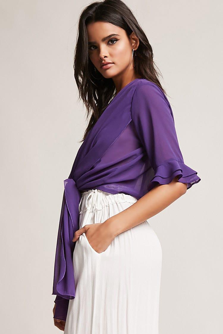 8a0af369af388 Lyst - Forever 21 Sheer Chiffon Self-tie Crop Top in Purple
