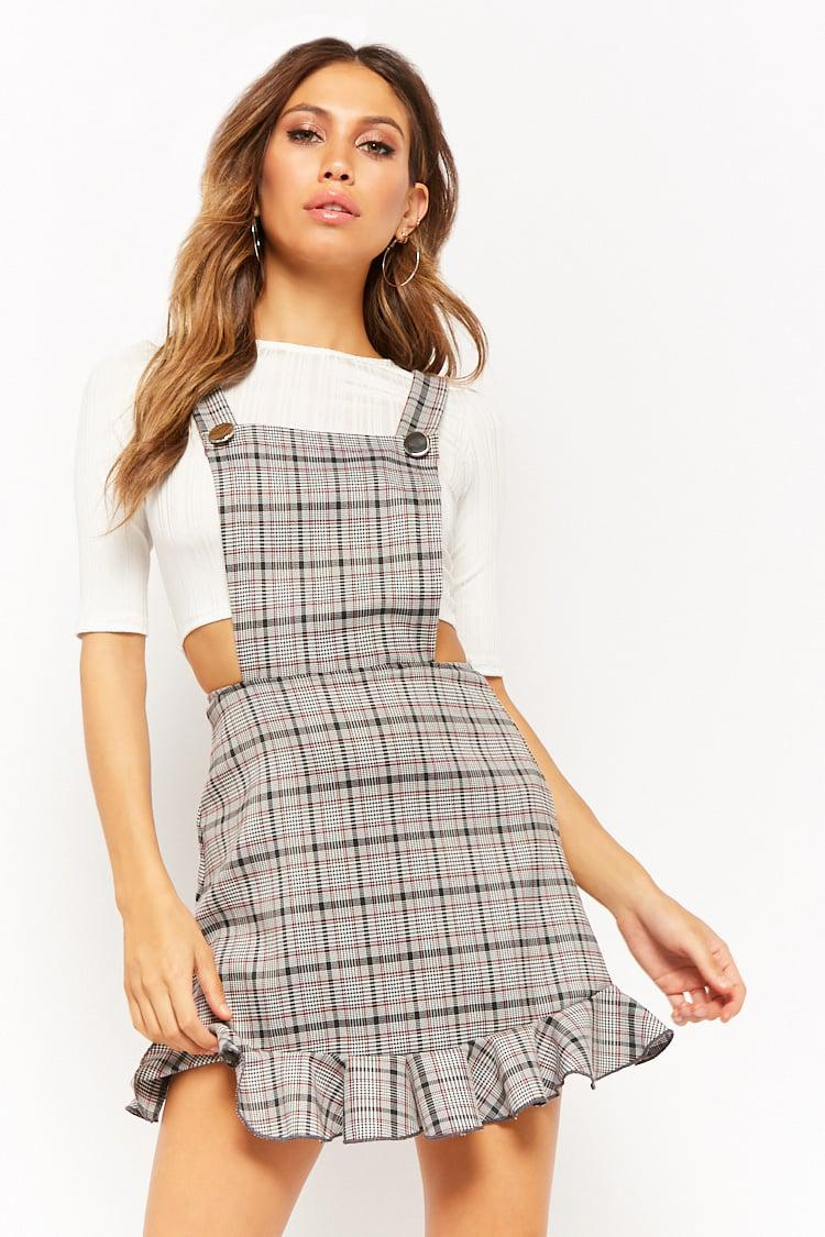 bce9e7b1d2920 Forever 21 Ribbed Top & Glen Plaid Pinafore Dress Set in Gray - Lyst