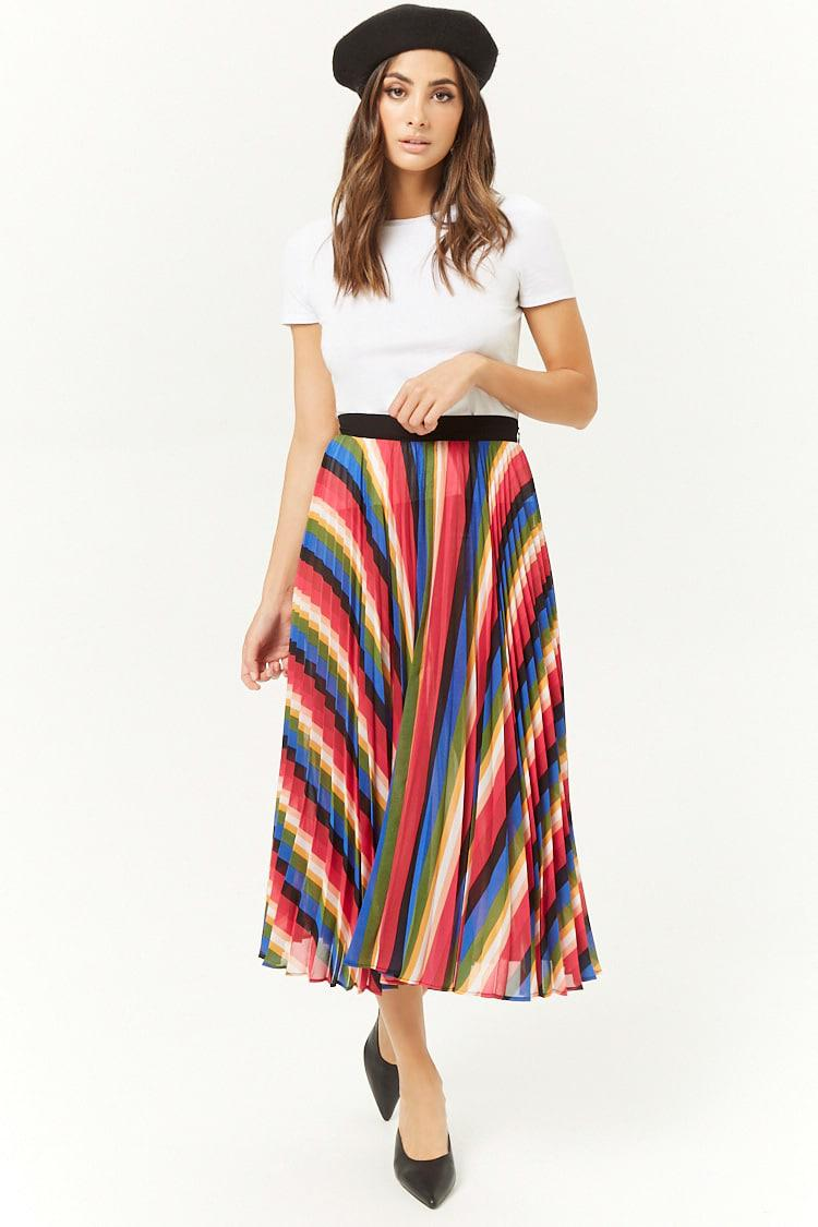 0609b28f64 Lyst - Forever 21 Rainbow Accordion-pleated Midi Skirt in Black