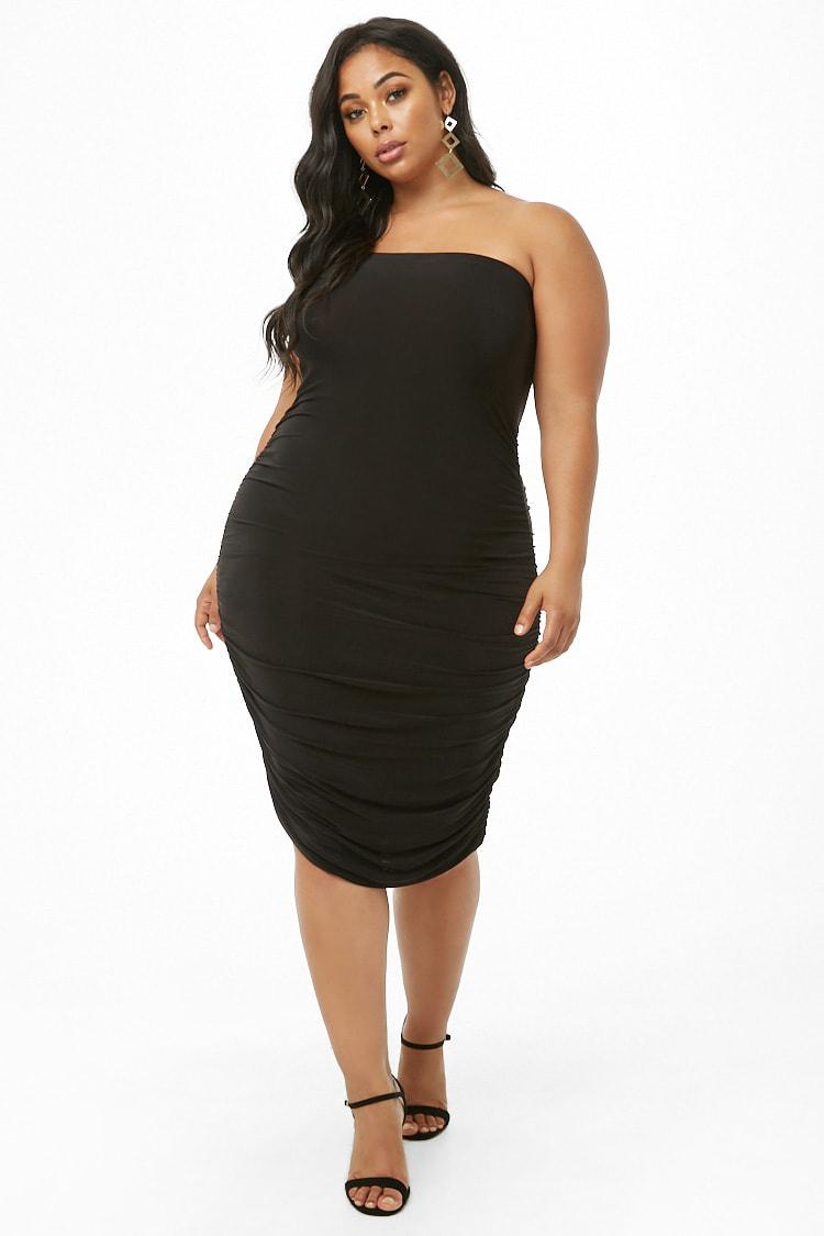 a6682181885 Forever 21 Women s Plus Size Ruched Tube Dress in Black - Lyst