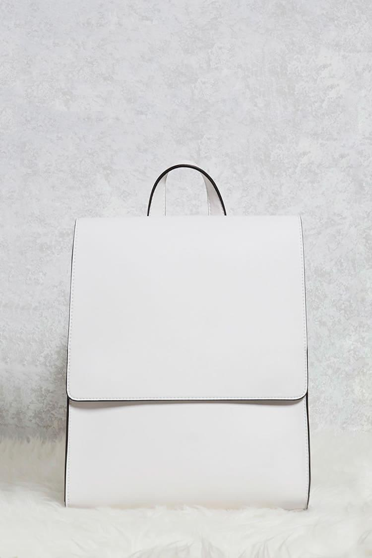 fbe5ff1743 Lyst - Forever 21 Faux Leather Flap-top Backpack in White