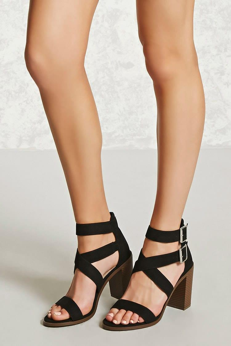 96abd3700f Forever 21 Faux Suede Block Heel Sandals in Black - Lyst