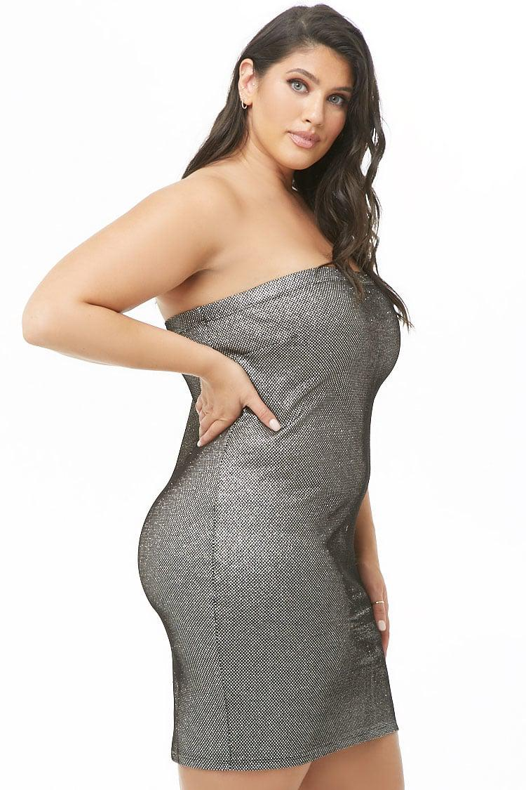 c1dd3cb4ab9 Forever 21 - Women s Plus Size Metallic Tube Dress - Lyst. View fullscreen