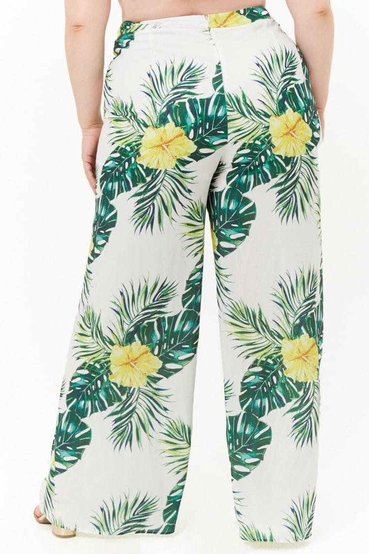 8ed2565d2e8 Forever 21 Women s Plus Size Floral   Leaf Print Palazzo Pants in ...