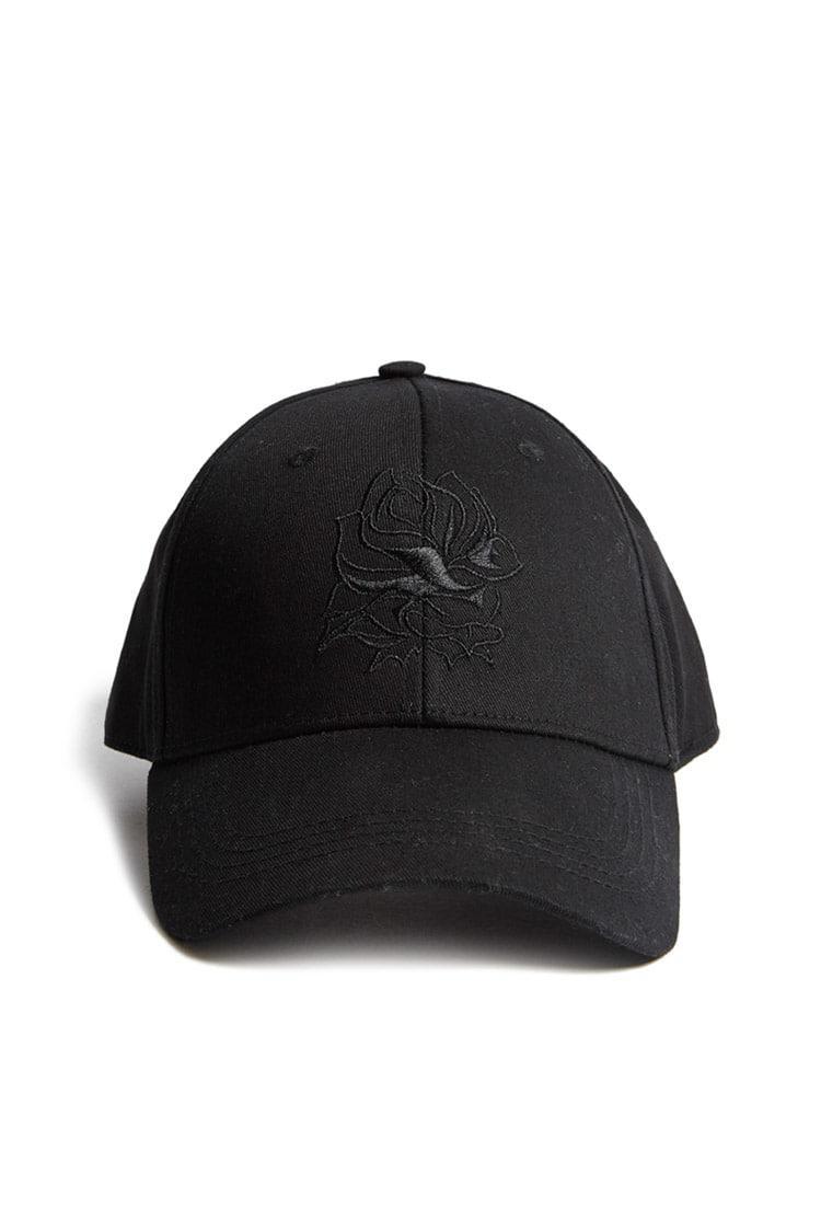 af79cc9136e Forever 21 Men Embroidered Rose Cap in Black for Men - Lyst