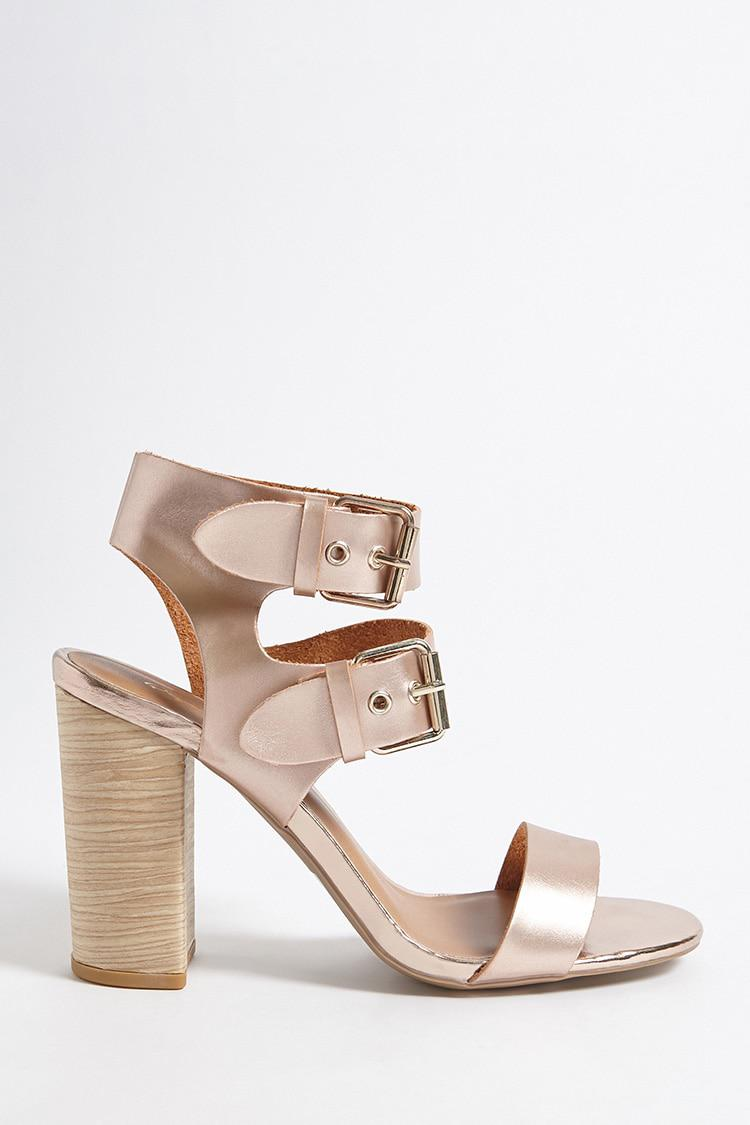 326d7c7fbb1 Lyst - Forever 21 Qupid Faux Suede Strappy Heels