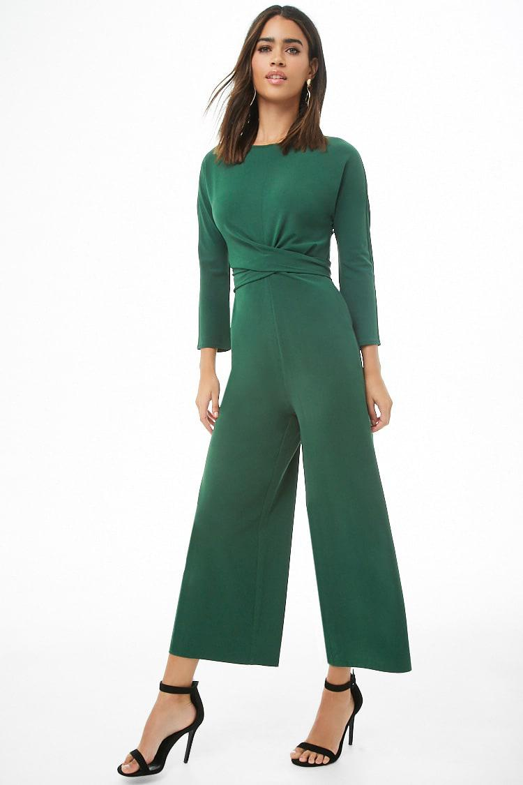 19892e196c Lyst - Forever 21 Long Sleeve Tie-front Ankle Jumpsuit in Green