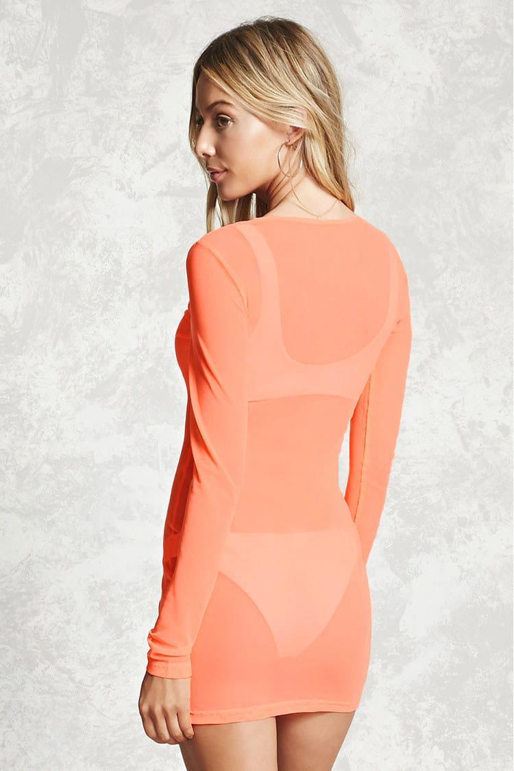 abe27048e2 Forever 21 Sheer Mesh Swim Cover-up in Orange - Lyst