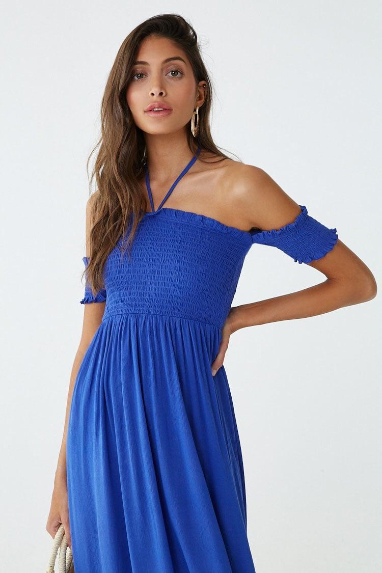 ac1faf92ec6 Lyst - Forever 21 Smocked Off-the-shoulder Halter Maxi Dress in Blue