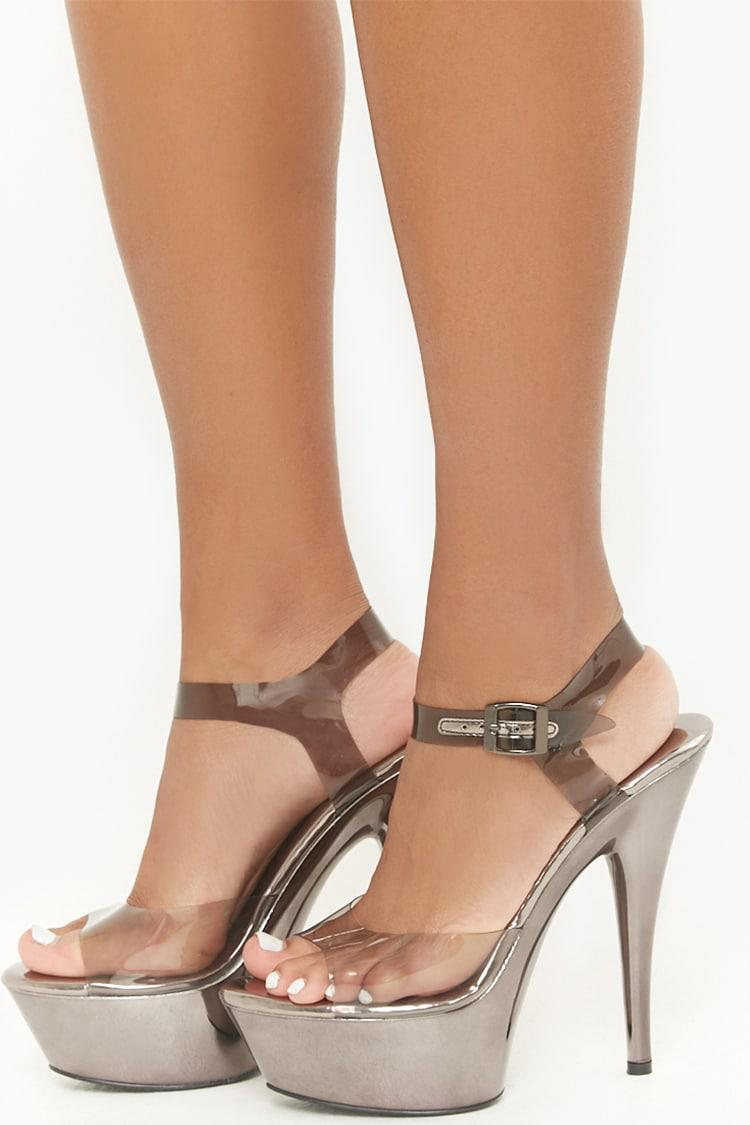 41f29b339b85 Lyst - Forever 21 Translucent Metallic Platform Heels in Metallic