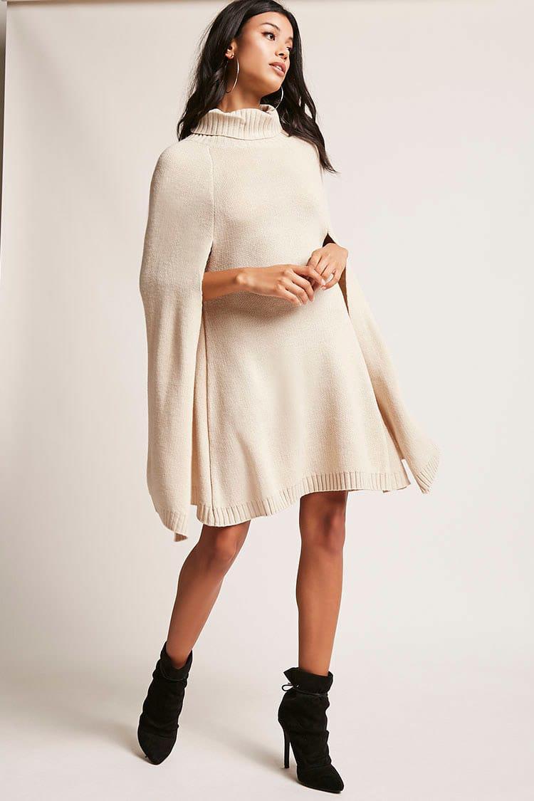 3c4f4914da Forever 21 Turtleneck Cape Sweater Dress in Natural - Lyst